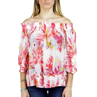 BLOUSE OPEN SHOULDER LEAF PRINT GEORGETT