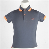 BOY'S POLO BIG STRIPE  FLUO ON COLLAR EL