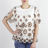 FLARE TOP OFFWHITEBROWN