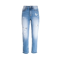 JEANS LOOSE FIT CROPPED IN DENIM CON LAVAGGIO DESTROYED MEGAN FRACOMINA